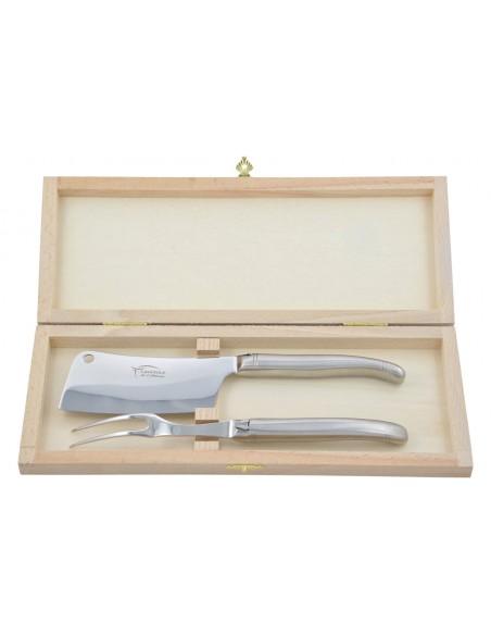 Service à fromage Laguiole. Couperet et fourchette tout inox mat, lavables en machine