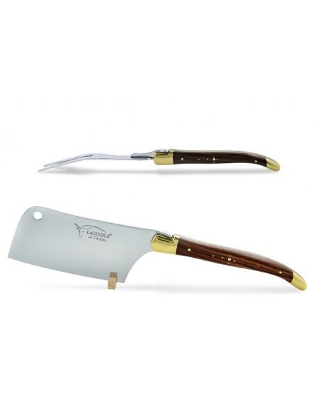 Service à fromage Laguiole. Couperet et fourchette finition laiton, manches fins en bois de violette