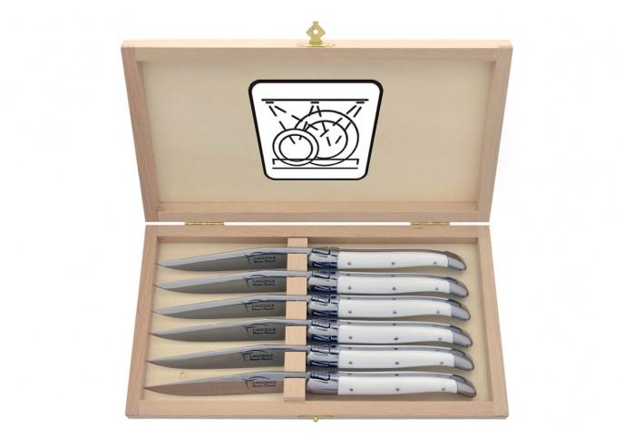 Coffret de couteaux de table avec mitres inox brillant, lavables en machine, manche fin en corian blanc