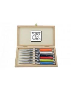 Coffret de 6 couteaux de table avec mitres inox brillant, lavables en machine, manche fin en corian couleurs panachées
