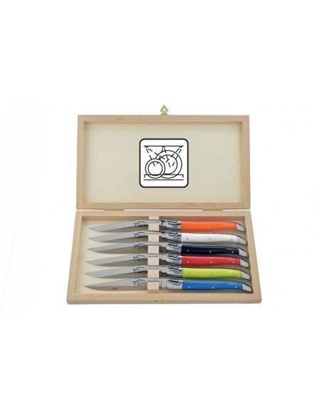 Coffret de couteaux de table avec mitres inox brillant, lavables en machine, manche fin en corian couleurs panachées