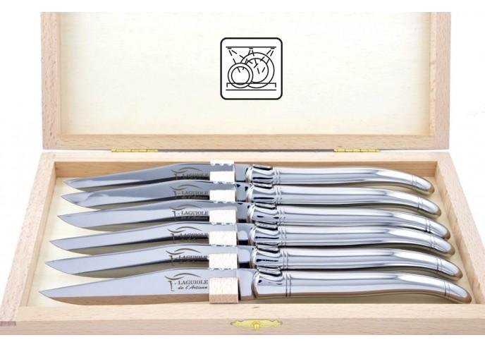 Coffret de 6 couteaux de table Laguiole tout inox brillant, lavables en machine