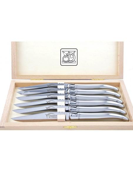 Coffret de couteaux de table Laguiole tout inox brillant, lavables en machine