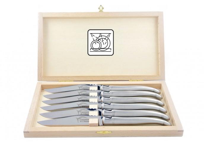 Coffret de 6 couteaux de table Laguiole tout inox mat (brossé), lavables en machine