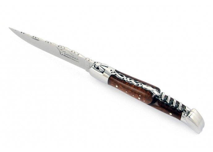 Laguiole pliant 12 cm, lame & tire-bouchon, ciselé dessus dessous, mitres inox brillant, manche en bois d'amourette
