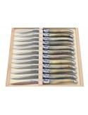 Coffret de couteaux de table Laguiole avec mitres inox mat, manche galbé en pointe de corne claire