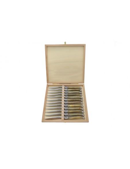 Coffret de couteaux de table Laguiole avec mitres inox brillant, manche galbé en pointe de corne claire