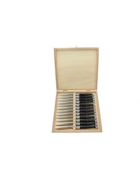 Coffret de couteaux de table Laguiole avec mitres inox mat, manche galbé en pointe de corne foncée