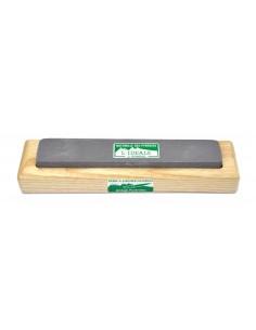 Pierre à aiguiser naturelle 2 grains avec socle en bois. Efficace pour touts types de couteaux (pliants et cuisine)