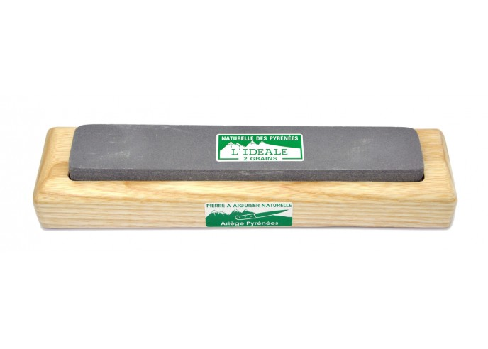 Natural whetstone with 2 grains, wooden base. Useful for all kind of knives (pocket and kitchen)