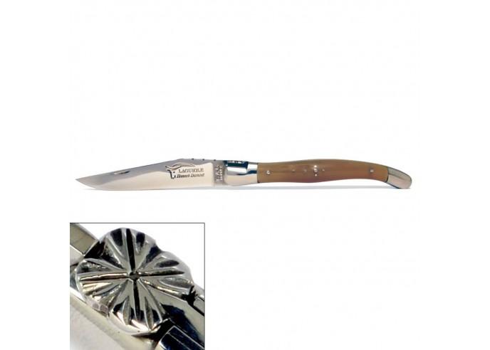 Laguiole pliant, 12 cm, abeille forgée, lame seule, manche bois d'olivier