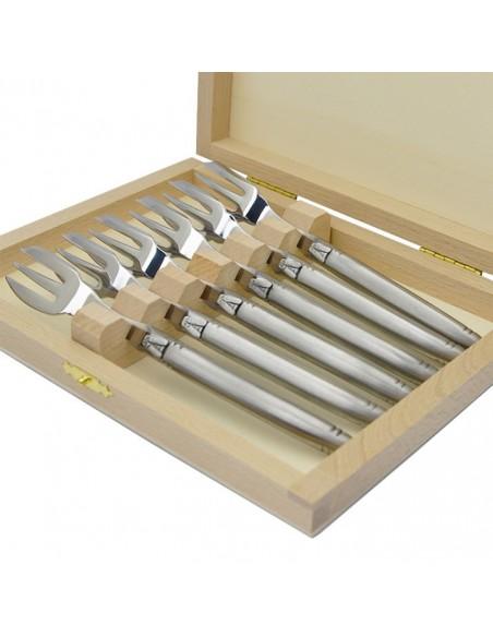 Coffret de fourchettes de table Laguiole tout inox brillant, manche fin