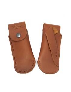 Étui cuir ceinture avec passant oblique pour couteaux de chasse, marron - 12 cm