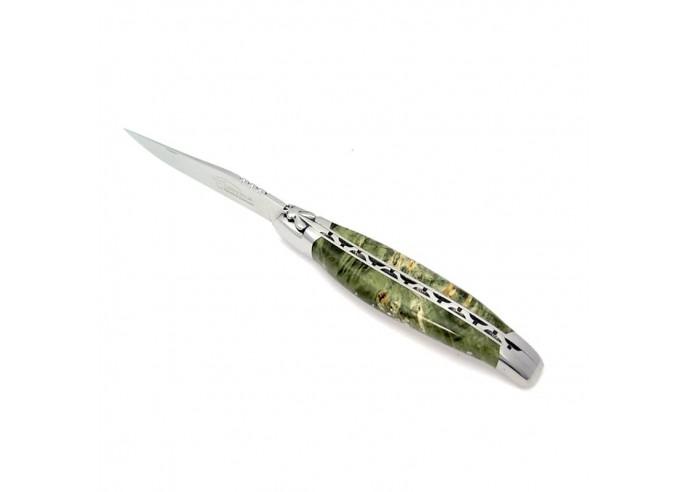 Laguiole pliant, 12 cm, abeille forgée, mitres inox mat, manche super galbé en loupe de bois stabilisé vert