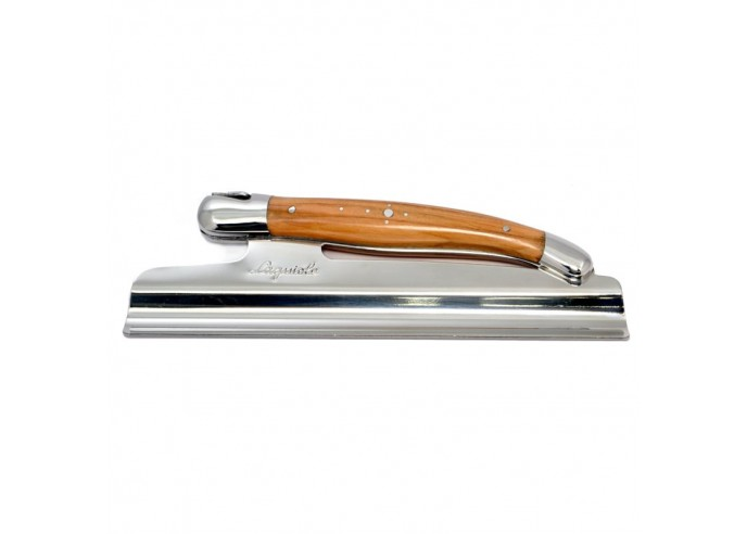 Table crumb sweeper, shiny stainless steel bolsters, olivewood handle