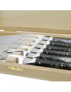 Laguiole steak knives with shiny stainless steel bolsters. Slim compressed horn handles