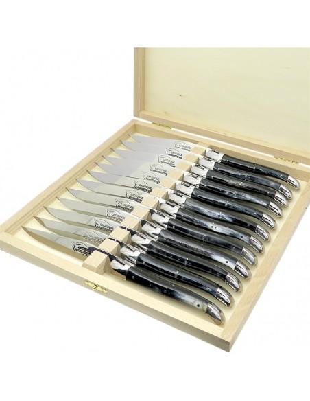 Couteaux de table (couteaux à steak), finition gamme courante, mitres inox mat, manche corne (pressée)