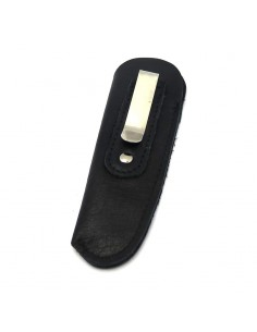 Leather pocket clip sheath with molded logo - Black