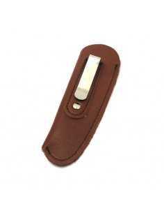 Leather pocket clip sheath with molded logo - Brown