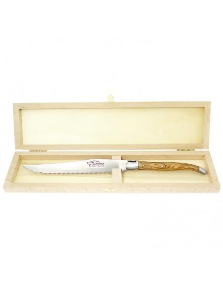 Couteau à pain Laguiole. Finition inox mat avec manche fin en bois d'olivier