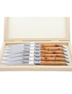 Couteaux de table (couteaux à steak), finition gamme courant, mitres inox, manche bois de genévrier