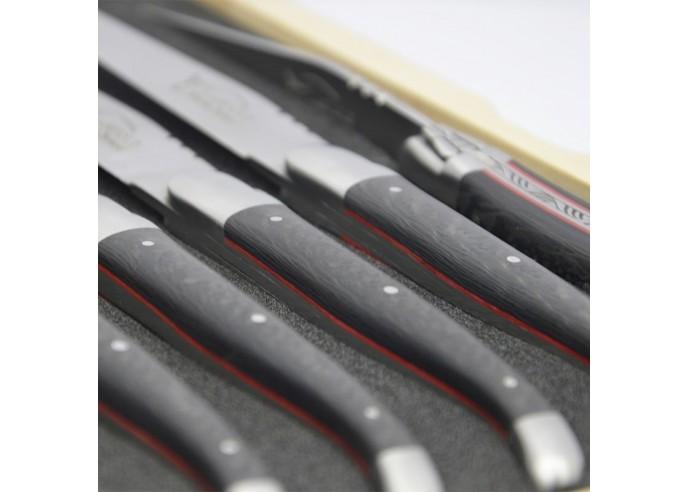 Couteaux de table (couteaux à steak), finition gamme prestige, mitres inox mat, manche fibre de carbone