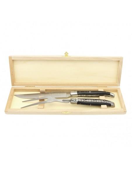 Laguiole Tranchierbesteck Doppelplatinen, Messer und Gabel, Heftbacken aus mattem Edelstahl, breiterer Griff aus Ebenholz