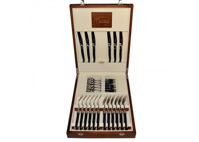 Ménagère Laguiole,  24 pièces avec manche corian noir et mitres inox brillant, lavables en machine, mallette bois massif