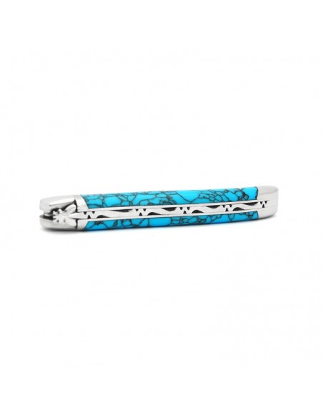 Laguiole pocket knife, 12 cm, forged bee, shiny stainless steel bolsters, reconstructed turquoise without Shepherd's cross