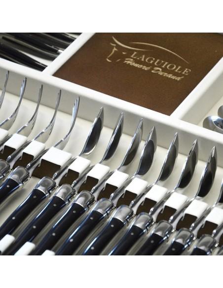 Ménagère Laguiole,  48 pièces avec manche corian noir et mitres inox brillant, lavables en machine, mallette bois massif