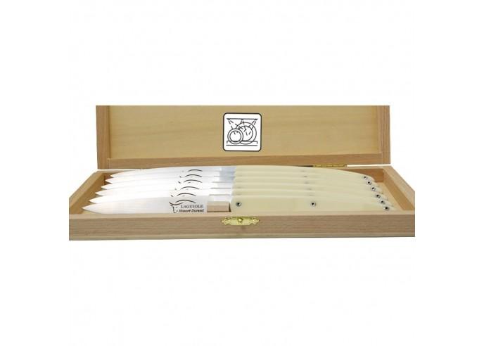 Coffret de couteaux de table Laguiole Contemporain, manche fin en corian blanc