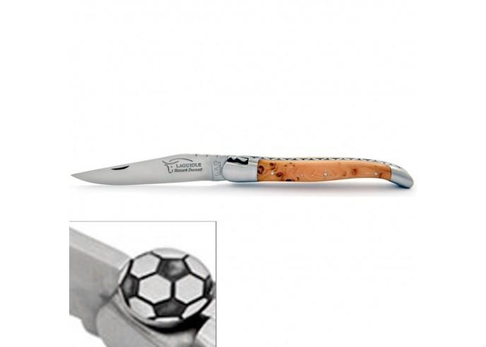 Laguiole Klappmesser, 12cm, Fußball, Heftbacken aus mattem Edelstahl, Griff aus Wacholderholz