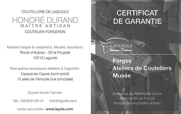 Bon de garantie recto Honoré Durand Laguiole