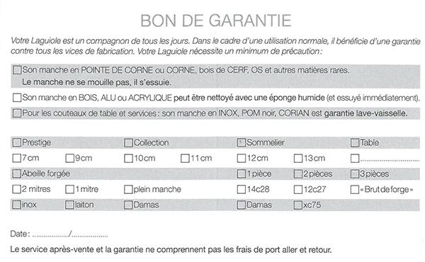 Bon de garantie Honoré Durand Laguiole Verso