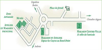 Plan d'accès à la coutellerie & Forges Honoré Durand à Laguiole Aveyron Frnace